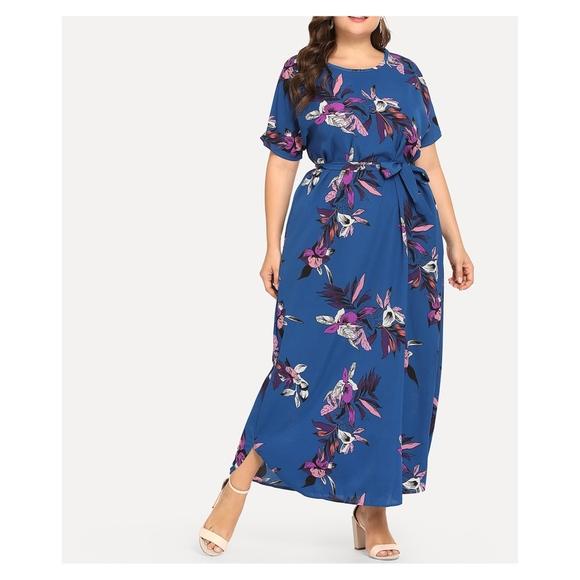 Blue Floral Short Sleeve Plus Size Maxi Dress Boutique